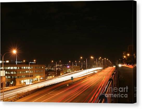 Night Time Traffic Canvas Print by Robert Torkomian