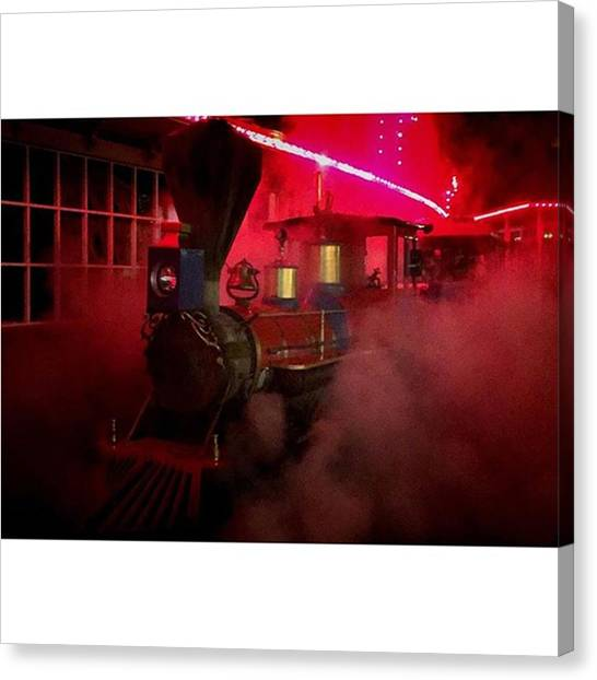 Steam Trains Canvas Print - #night #train #blowing Off #steam Under by Ron Meiners
