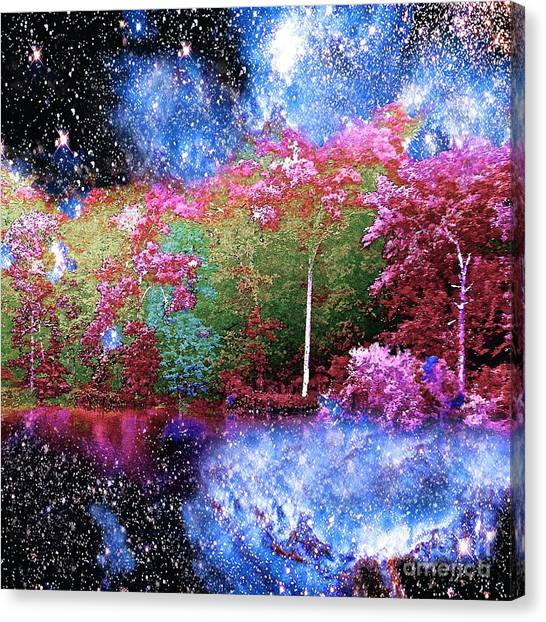 Night Trees Starry Lake Canvas Print
