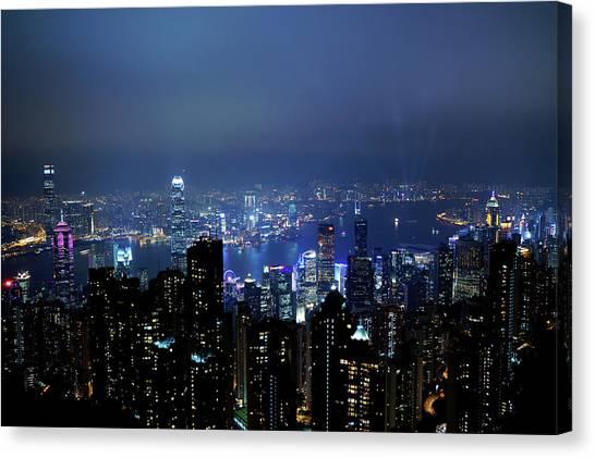 Hong Kong Canvas Print - Night View From The Victoria Peak Of Hong Kong by Kurick Berry
