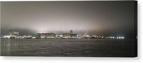 Night View Ocean City Downtown Skyline Canvas Print
