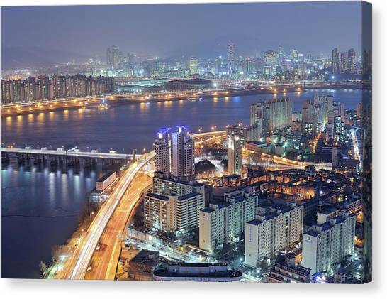 Korean Canvas Print - Night View Of Seoul by Tokism
