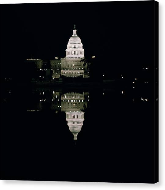 Washington Capitals Canvas Print - Night View Of The Capitol by American School