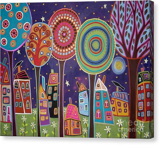 Blackbirds Canvas Print - Night Village by Karla Gerard