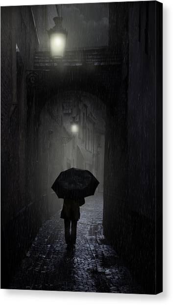 Night Walk In The Rain Canvas Print