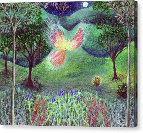 Night With Fire Bird And Sacred Bush Canvas Print