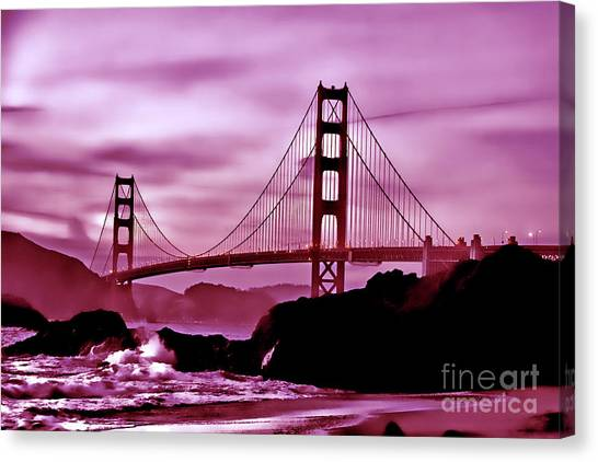 Nightfall At The Golden Gate Canvas Print