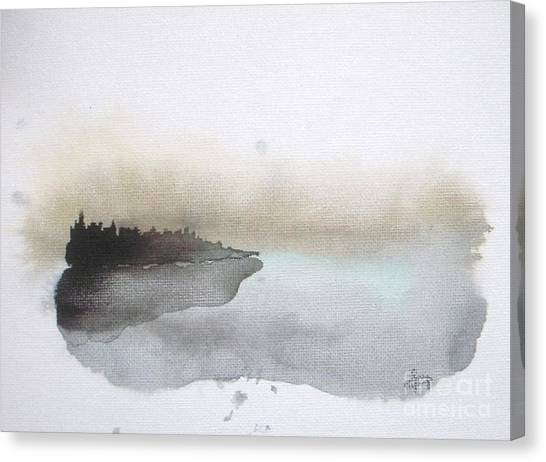 Abstract Landscape Canvas Print - Nightfall On The Lake  by Vesna Antic
