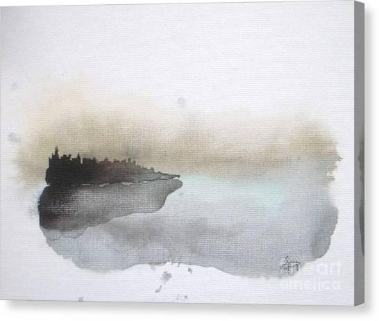 Abstract Seascape Canvas Print - Nightfall On The Lake  by Vesna Antic