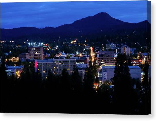 Canvas Print featuring the photograph Nightfall Over Eugene by Margaret Pitcher