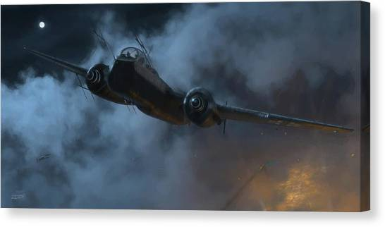 Nightfighter - Painterly Canvas Print by Robert Perry