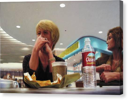Airports Canvas Print - Nighthawks At The Foodcourt by James W Johnson