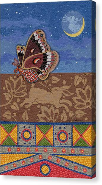 Canvas Print featuring the painting Nightime - Tipiskaw, Cree by Chholing Taha