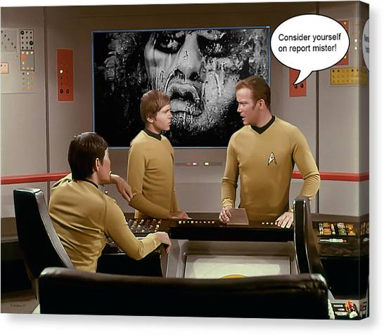 James T. Kirk Canvas Print - Nightmare At 20,000 Light-years by Brian Wallace