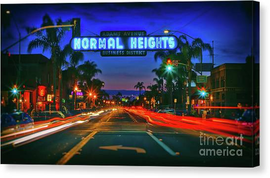 Nighttime Neon In Normal Heights, San Diego, California Canvas Print