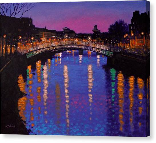 Water Scene Canvas Print - Nighttown Ha Penny Bridge Dublin by John  Nolan