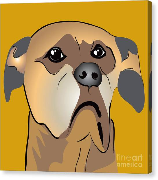 Niki Boxer Dog Portrait Canvas Print