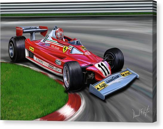 Formula 1 Canvas Print - Niki Lauda F-1 Ferrari by David Kyte