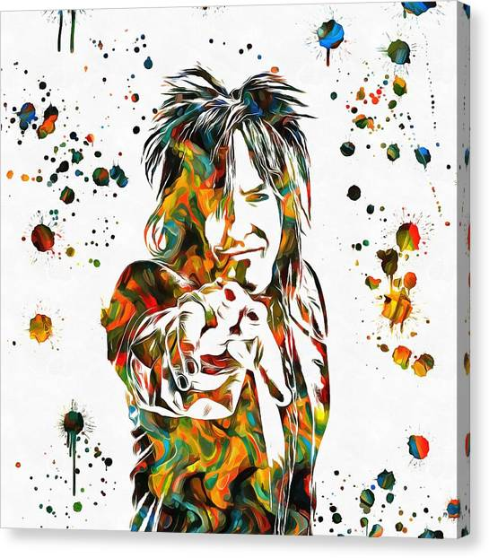 Alice Cooper Canvas Print - Nikki Sixx Paint Splatter by Dan Sproul