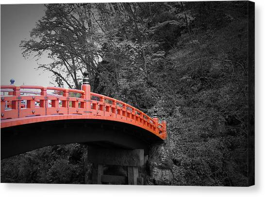 Buddhist Canvas Print - Nikko Red Bridge by Naxart Studio