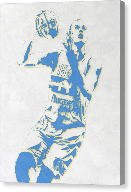 Denver Nuggets Canvas Print - Nikola Jokic Denver Nuggets Pixel Art by Joe Hamilton