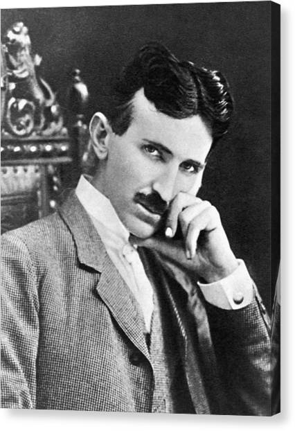 Canvas Print featuring the photograph Nikola Tesla by Artistic Panda