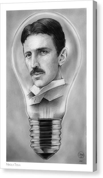 Engineering Canvas Print - Nikola Tesla by Greg Joens