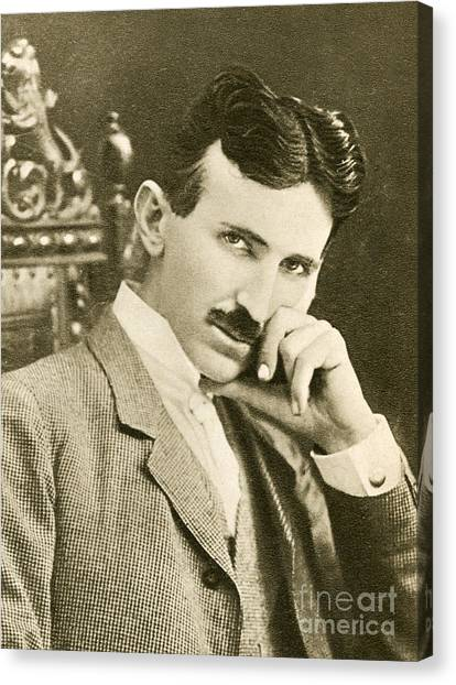 1943 Canvas Print - Nikola Tesla, Serbian-american Inventor by Photo Researchers