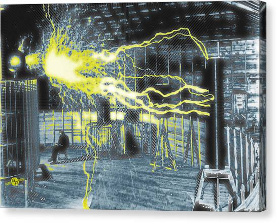 Ac Dc Canvas Print - Nikola Tesla Sitting In His Experimental Station Reimagined 2 by Tony Rubino