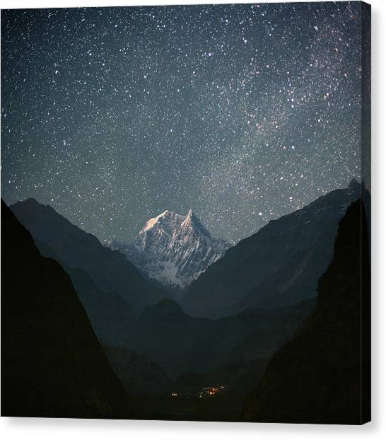 Mountain Ranges Canvas Print - Nilgiri South (6839 M) by Anton Jankovoy