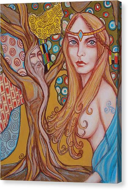 Nimue And Merlin Canvas Print by Tammy Mae Moon