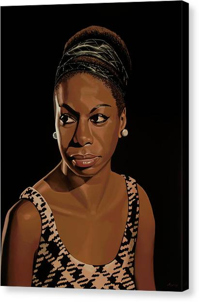 Rhythm And Blues Canvas Print - Nina Simone Painting 2 by Paul Meijering