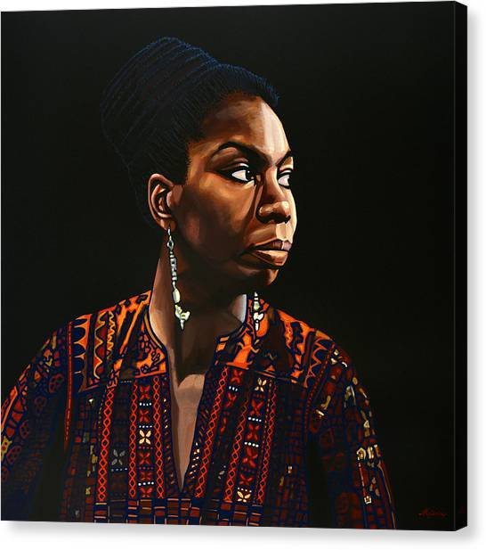 Rights Canvas Print - Nina Simone Painting by Paul Meijering