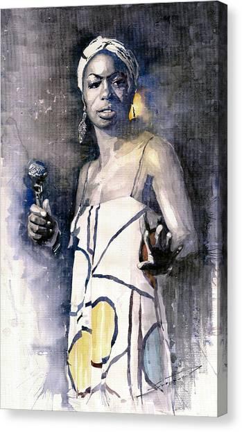Jazz Canvas Print - Nina Simone by Yuriy Shevchuk