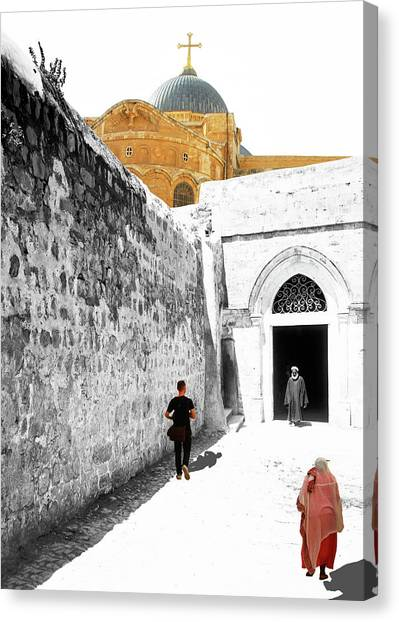 Coptic Art Canvas Print - Ninth Station Coptic Church by Munir Alawi