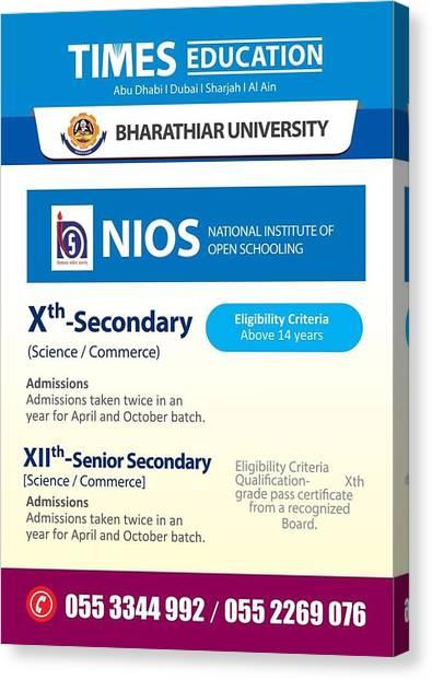 Mba Canvas Print - Nios Education-senior Secondary-schooling In Abu Dhabi-dubai-times Education Uae by John