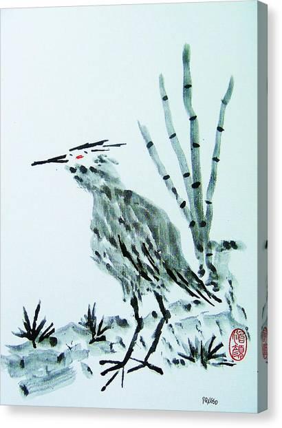 Nippon No Ao Sagi Canvas Print