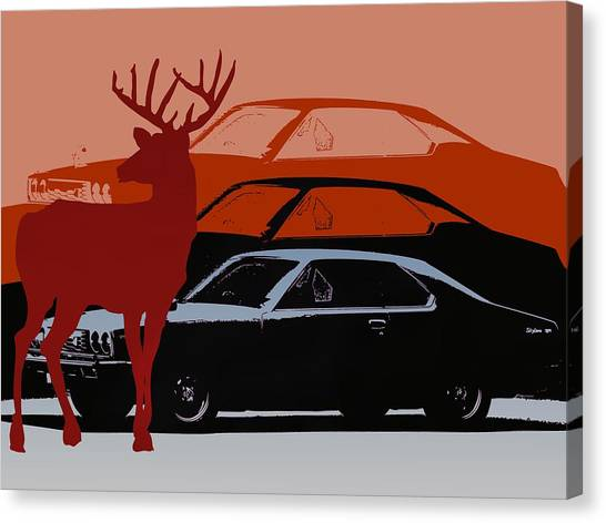Nissan 210 With Deer 3 Canvas Print