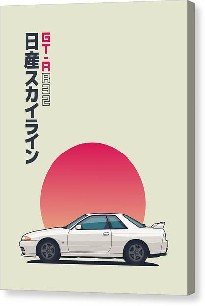 Touring Canvas Print - Nissan Skyline R32 Gt-r - Vert White by Ivan Krpan