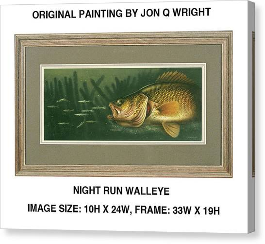 Freshwater Canvas Print - Nite Run Walleye by JQ Licensing