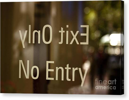 No Entry   A World Of Words Series Canvas Print by Mark Hendrickson