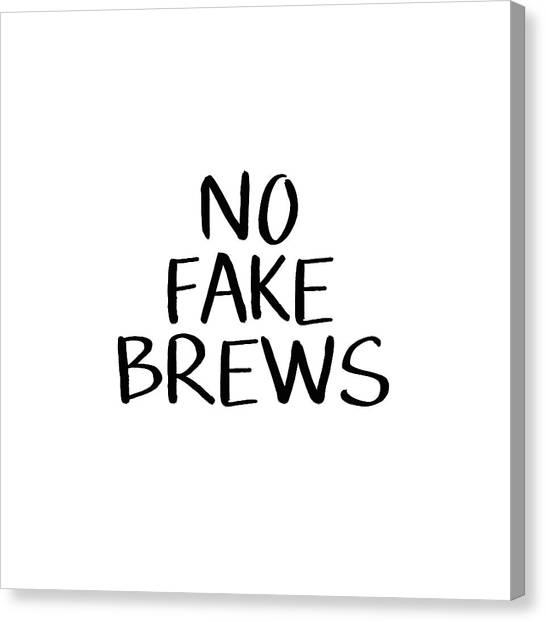 Tea Set Canvas Print - No Fake Brews- Art By Linda Woods by Linda Woods