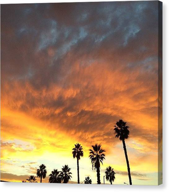Santa Monica Canvas Print - Yellow And Orange Sunset In Santa Monica Ca  by Lana Rushing