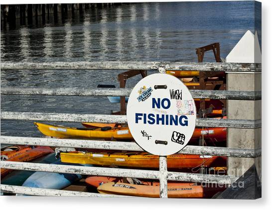 No Fishing   A World Of Words Series Canvas Print by Mark Hendrickson