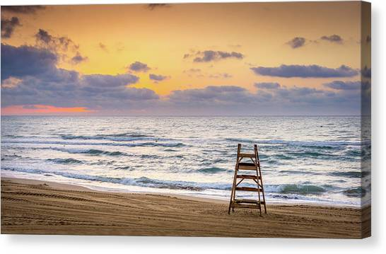 Canvas Print featuring the photograph No Lifeguard On Duty. by Gary Gillette