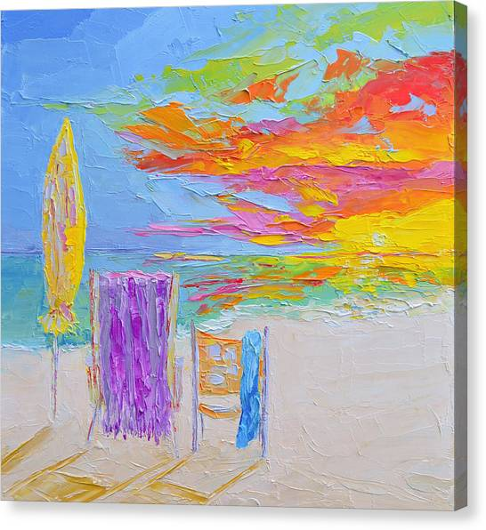 No Need For An Umbrella - Sunset At The Beach - Modern Impressionist Knife Palette Oil Painting Canvas Print