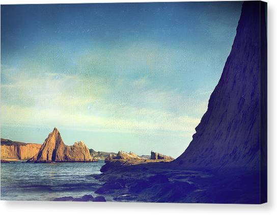 Ocean Cliffs Canvas Print - No One Can Save Me But You by Laurie Search