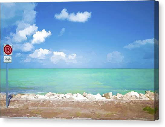 No Park Overseas Highway Us 1 Canvas Print