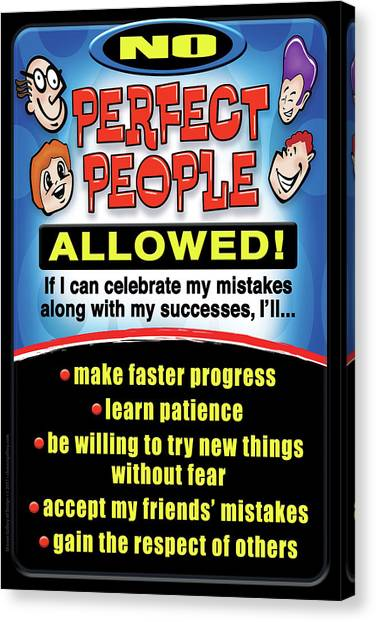 Canvas Print featuring the digital art No Perfect People Allowed by Shevon Johnson
