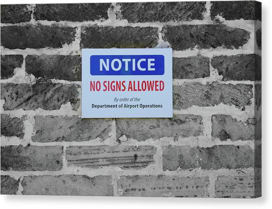 Atlantic 10 Canvas Print - No Signs Allowed Sign by Jeff at JSJ Photography